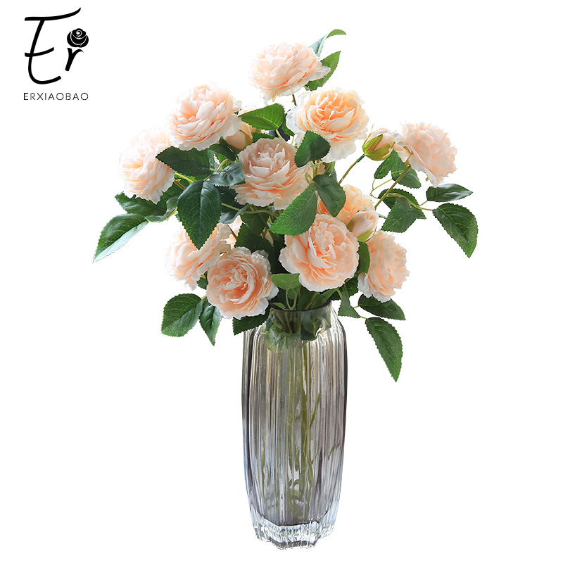 Erxiaobao 5 Pieces/Lot 3 Heads Gradient Champagne Peony Artificial Flowers Plump Fake Rose Silk Flower Home Wedding Fall Decor
