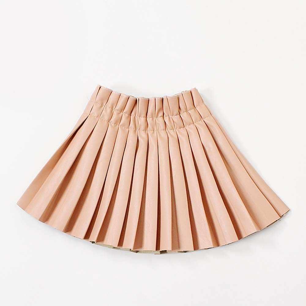 WeLaken 女の子 PU 固体プリーツスカート 2019 ファッションの女の子ウエストゴムフェイクレザースカートハイウエストスカートファッション子供