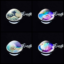 Japanese Great Wave of Kanagawa Art Pendant Double Sided Glass Ball Necklace Marine Life Shell Conch Crystal Jewelry