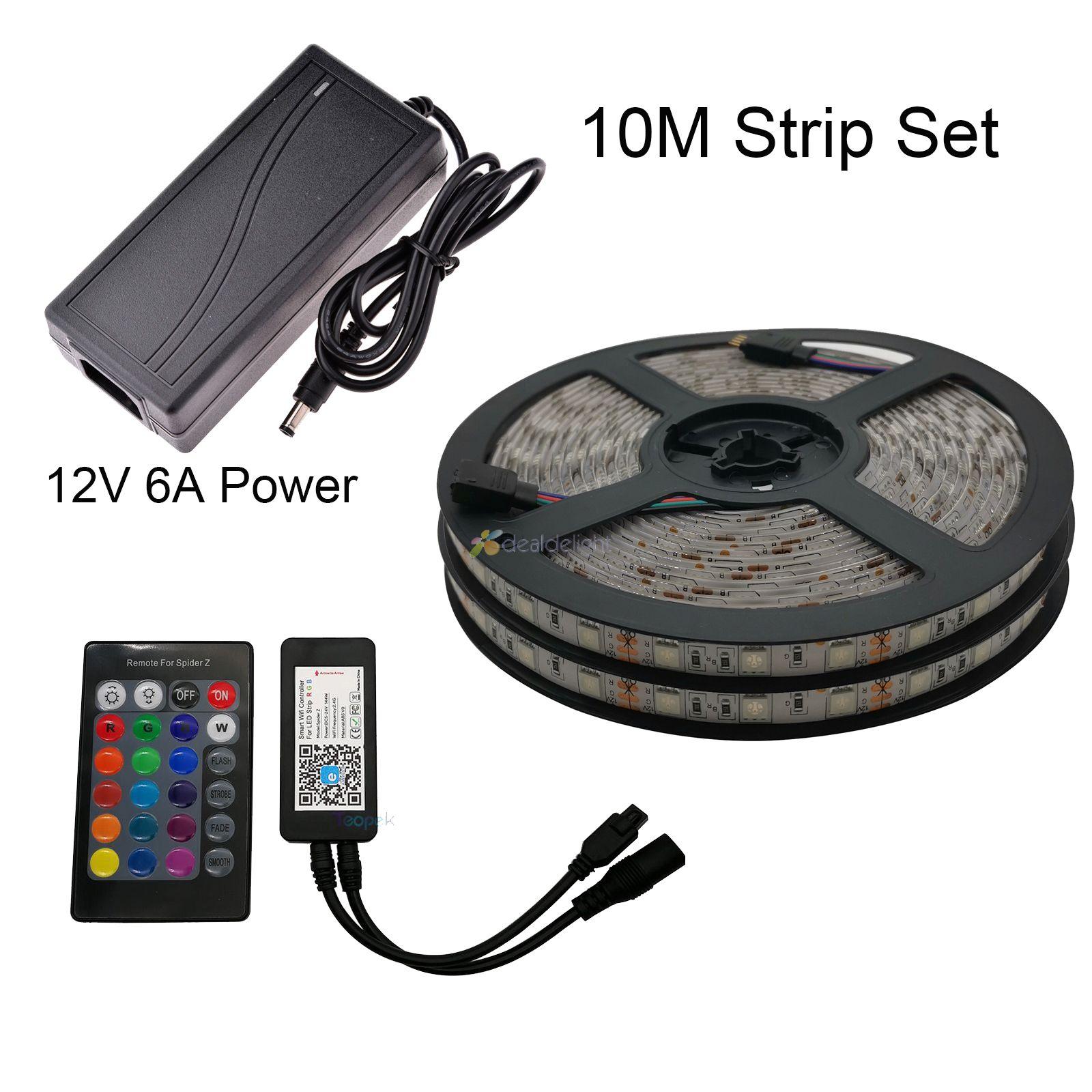 5 m 10 m 5050 rgb led strip conjunto flexível fita led + adaptador de energia controlador wi fi alexa google casa controle de voz ewelink