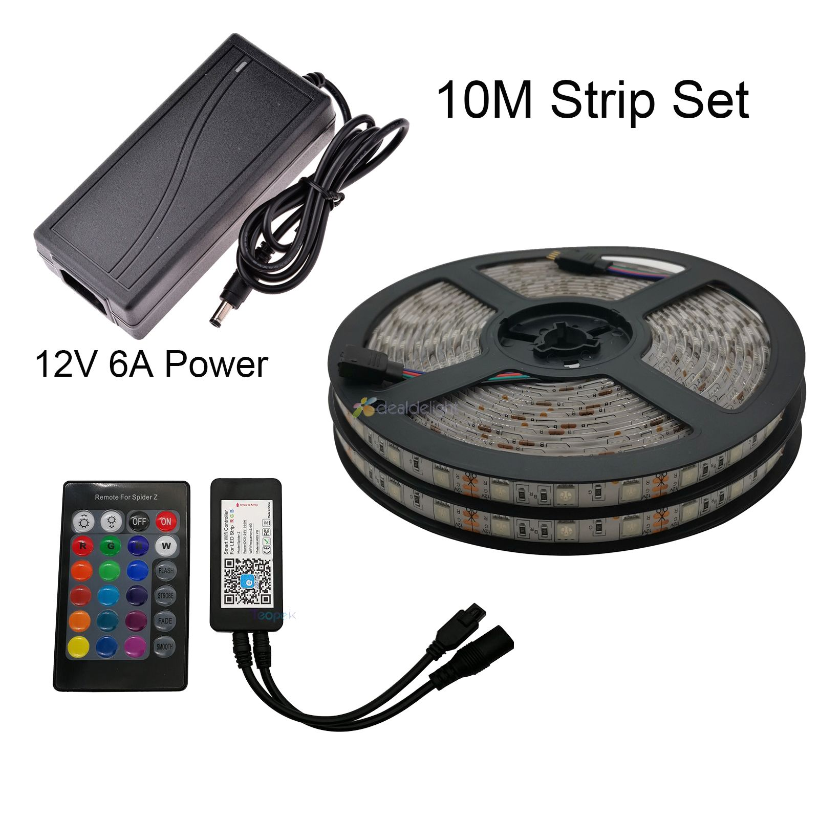5M 10M 5050 RGB LED Strip Set Flexible LED Tape   Power Adapter   eWelink Wifi Controller Alexa Google Home Voice Control