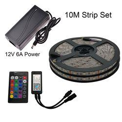 5M 10M LED 5050 RGB tira de cinta LED Flexible + adaptador de corriente + eWelink controlador Wifi Alexa Google Control de voz