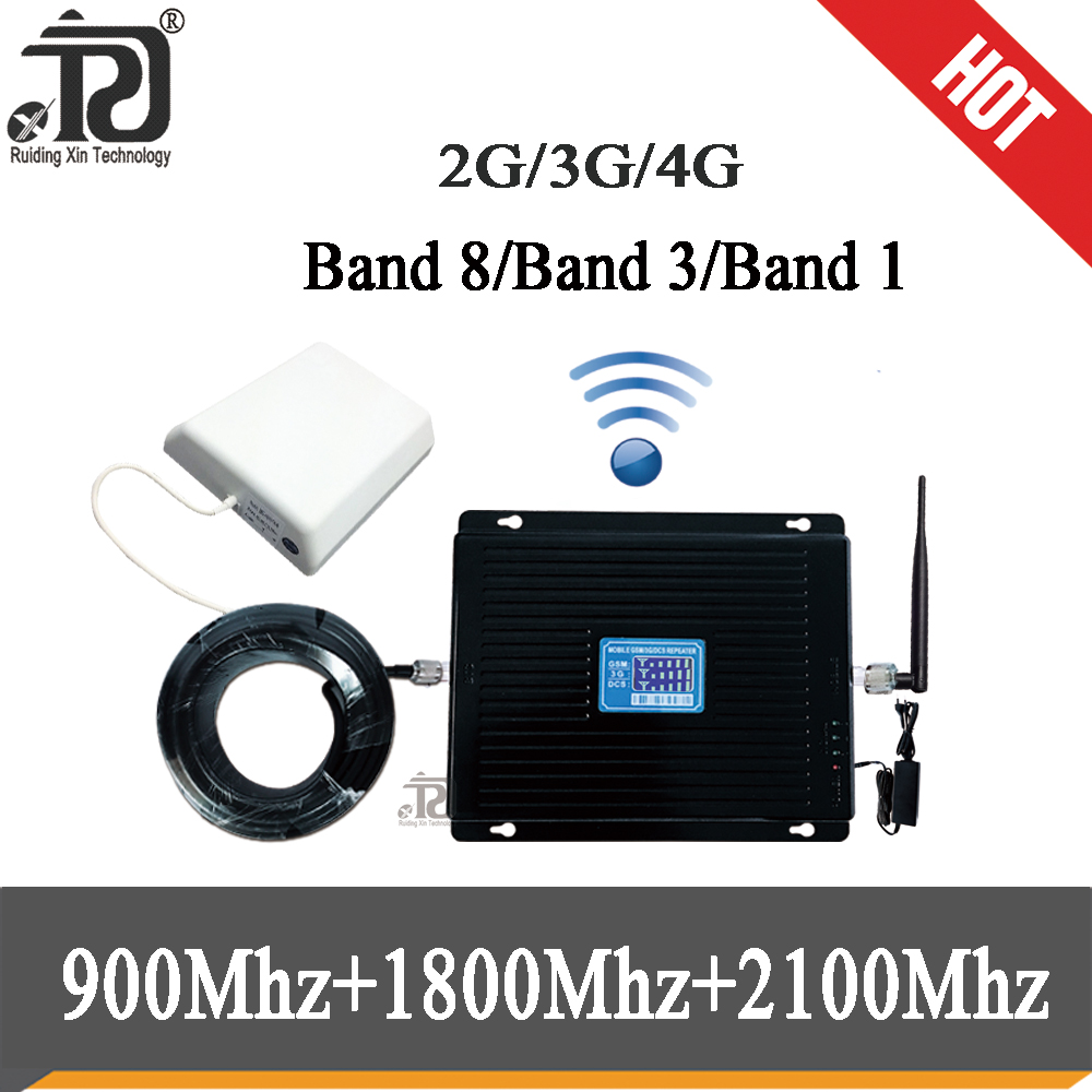 80dB Gain  4g Tri Band Signal Booster 900 1800 2100 GSM WCDMA UMTS LTE Cellular Repeater 900/1800/2100mhz Amplifier