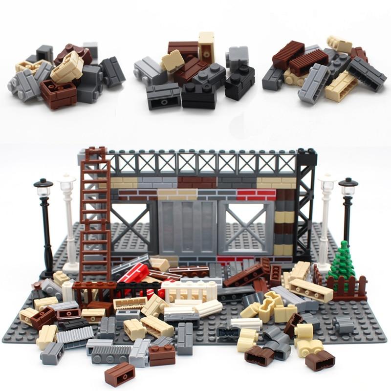 Город МОС, растения, сборка, блочные кирпичи, стена, кирпич, просвечивающие строительные блоки, детали, совместимые с Lego-игрушки, креативные ...