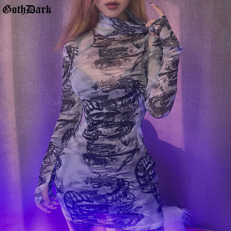 Dress Party Women Spaghetti Strap Dragon Print Sleeveless Sundress Goth