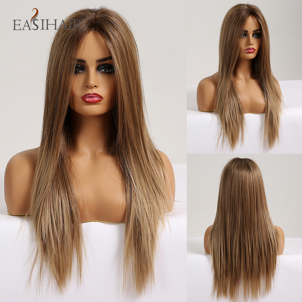 EASIHAIR Lace-Front-Wig Synthetic Wigs Blonde Heat-Resistant Brown Straight Long Women title=