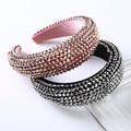 AWAYTR New Rhinestone Full Crystal Headbands for Women Wide Elastic Hairbands Baroque Diamond Tiara Hair Accessories Headdress