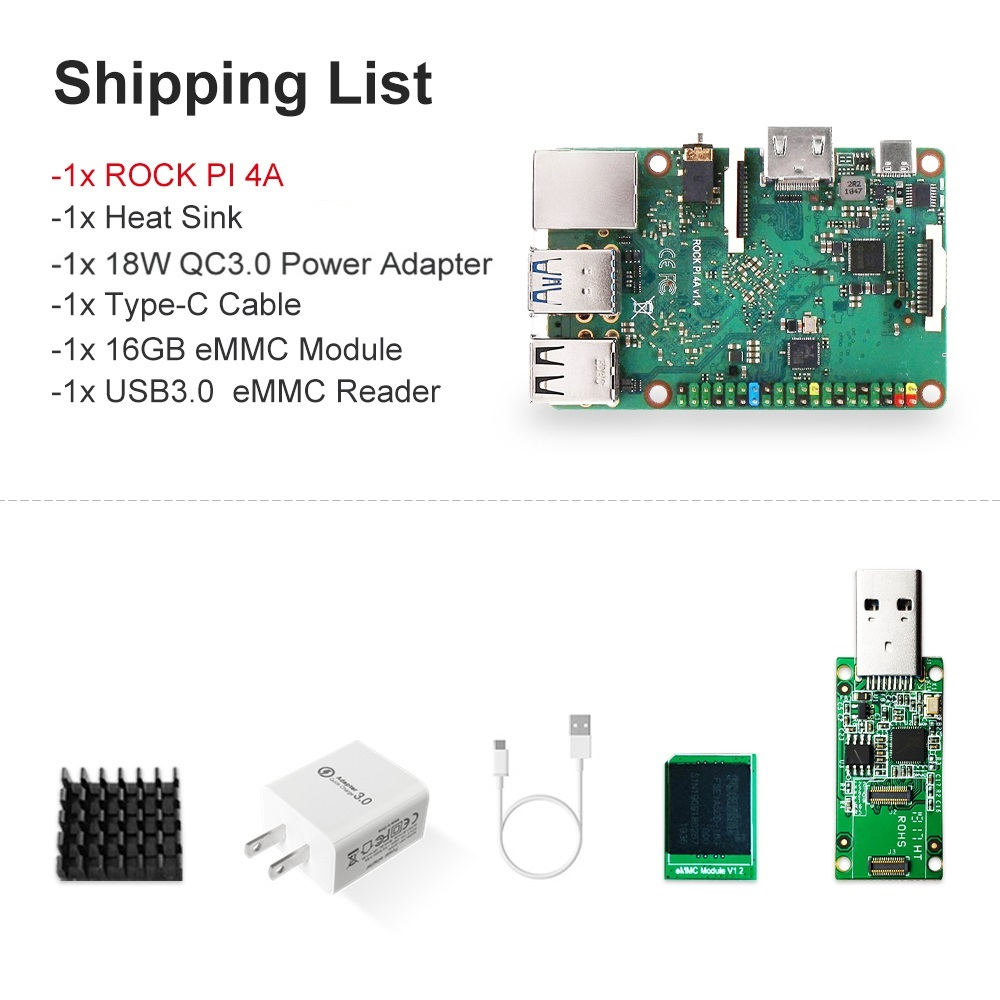 ROCK PI-4A V1.4 With Accessories Rockchip RK3399 ARM Cortex SBC/Single Board Computer Compatible With Raspberry Pi Display