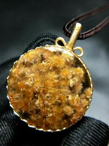 Image 5 - Natural Gold Rutilated Quartz Pendant Flower Pendant Titanium 29*9.5mm Crystal Stone 14K Gold AAAAA