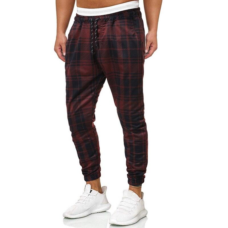 2019 Autumn Men's Trousers For Men Striped Plaid Pants Men Sweatpants Men Track Sweat Pants Joggers Streetwear Cargo Pants Men