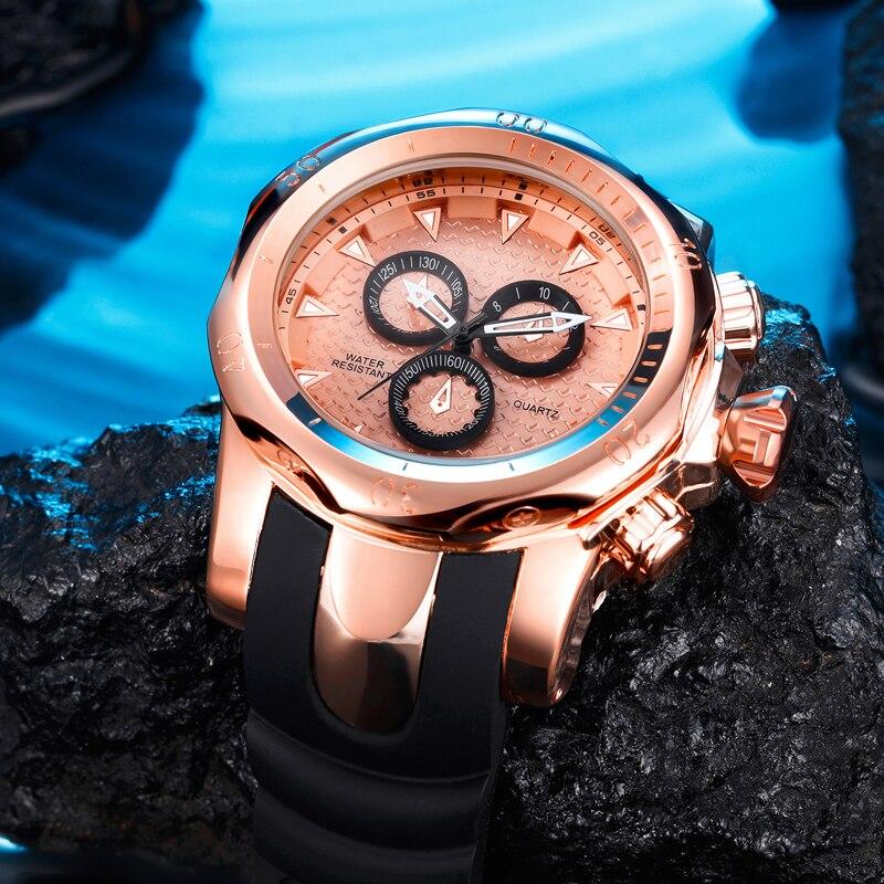 Top Marke Echte männer uhren sport uhr GROßE Zifferblatt gold quarzuhr Spezielle geschenk für männer Klettern Armbanduhren montre homme - 2