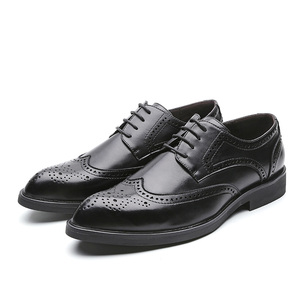 Image 5 - Men Dress Shoes Brogue Style Paty Leather Wedding Men Flats Leather Oxfords Formal Shoes