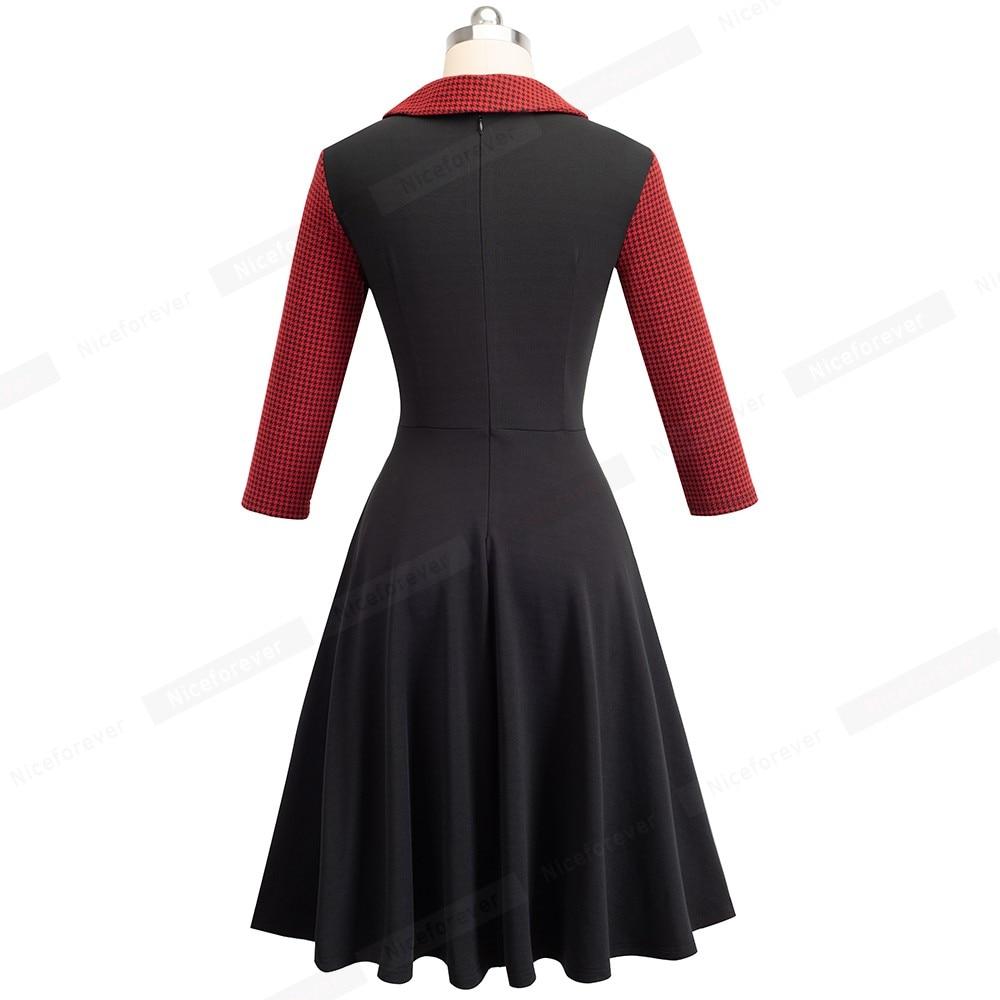 Image 3 - Mulher vintage ajuste e alargamento swing skater trabalho escritório de negócios festa vestido casual ha136Vestidos   -