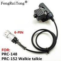 FengRuiTong-auriculares tácticos PTT para TAC-SKY Z, HD01 HD03, para PRC-148, 152A, PRC-152, u94, PTT, 6 pines