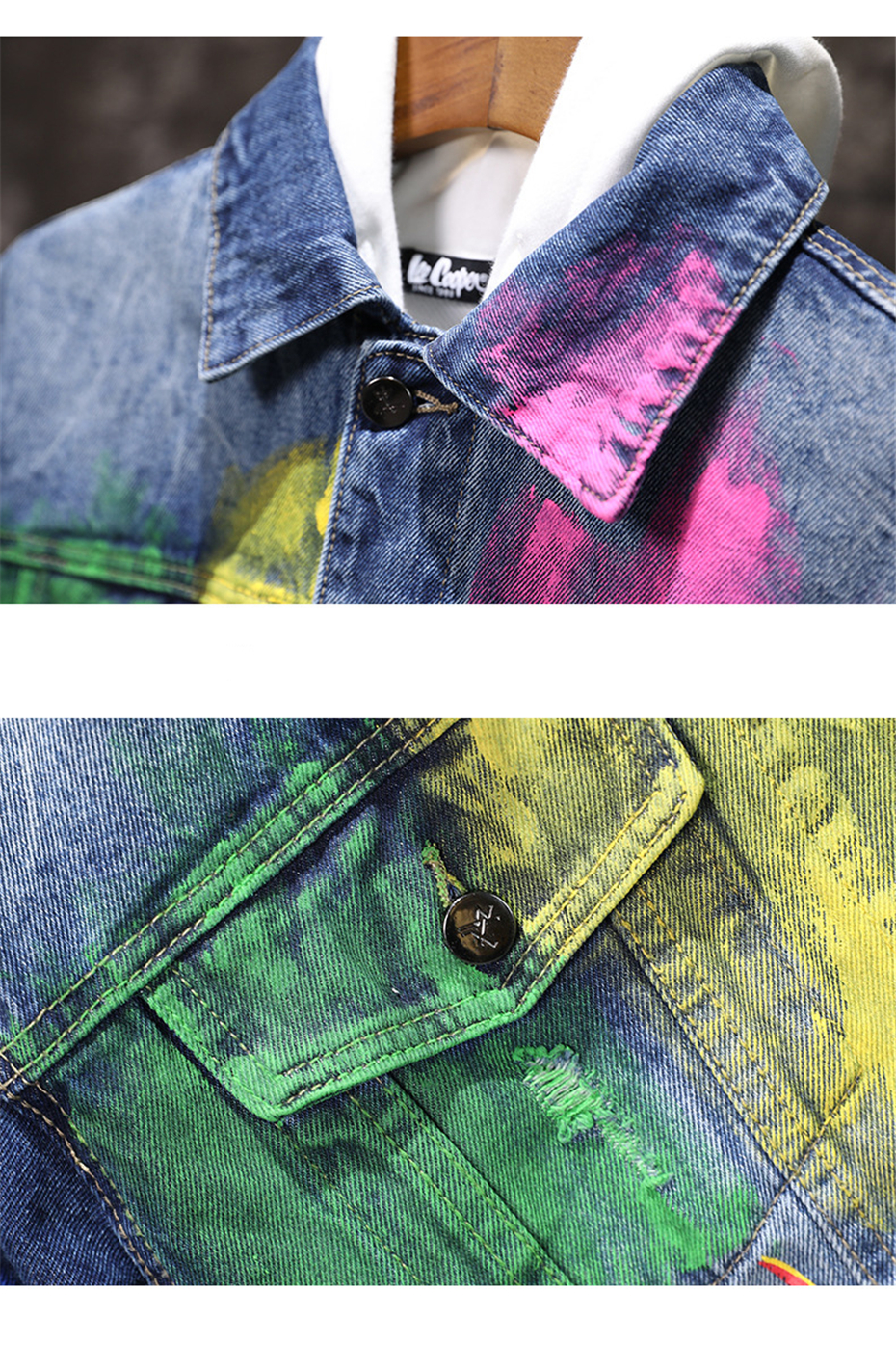 Men Graffiti Print Denim Jacket