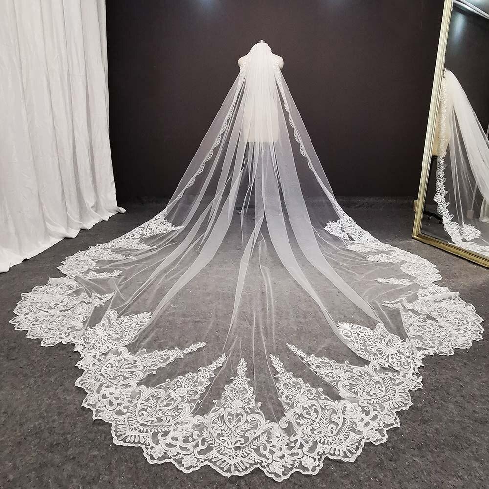 Fotos reais luxo longo laço véu de noiva high end retro véu de casamento com pente 3.5 metros noiva véu acessórios de casamento