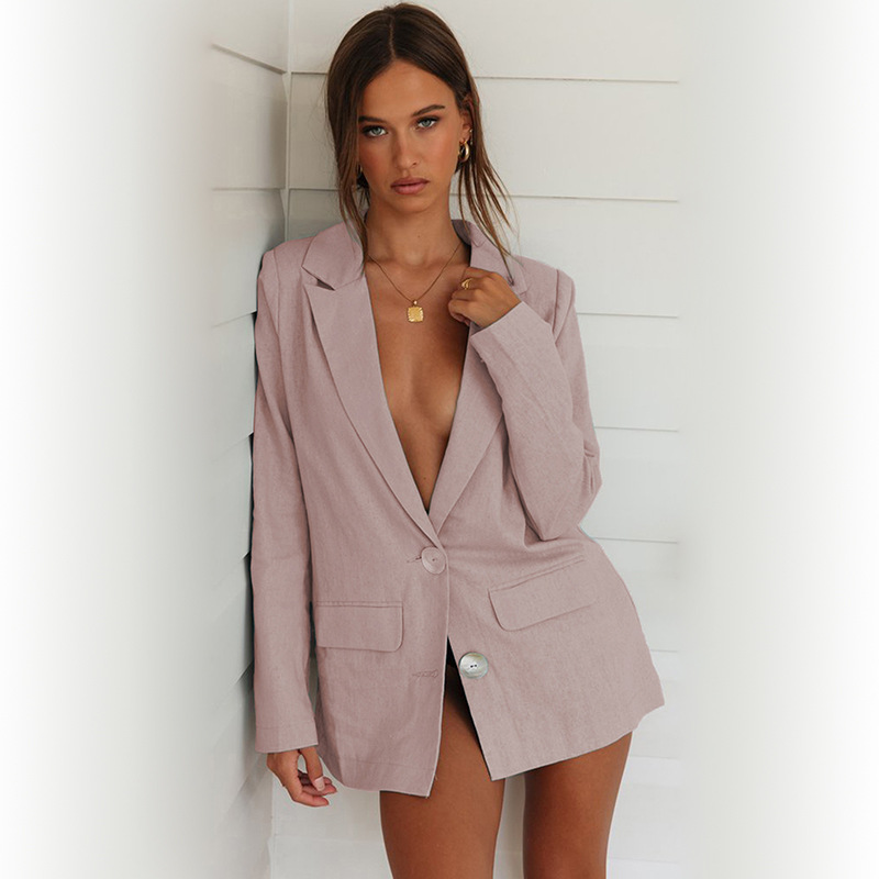 2019 women's suit autumn and winter new pink small suit jacket women's shirt two buckle long sleeve female blazer