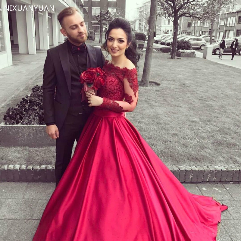Vestido De Noiva Wine Red Wedding Dresses Lace Long Sleeve Off Shoulder A Line Satin Wedding Gowns Brides Dress Robe De Mariee
