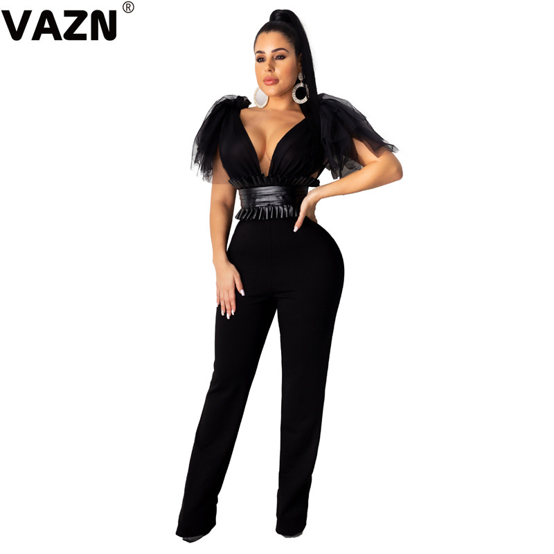 VAZN ZSC0231 Hot  Hollow Out 2019 Solid Casual Women Jumpsuits Sexy V-Neck Lace Sleeve Long Pants Top Puff Bodycon Jumpsuits