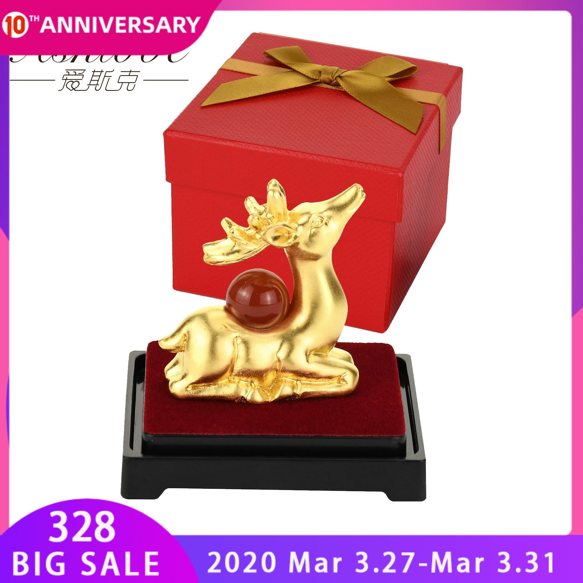 Gold Fortune Deer Statue Figurines Home Statue Decoration 24K Gold Foil Crafts Tabletop Car Lucky Ornaments Home Office Decor