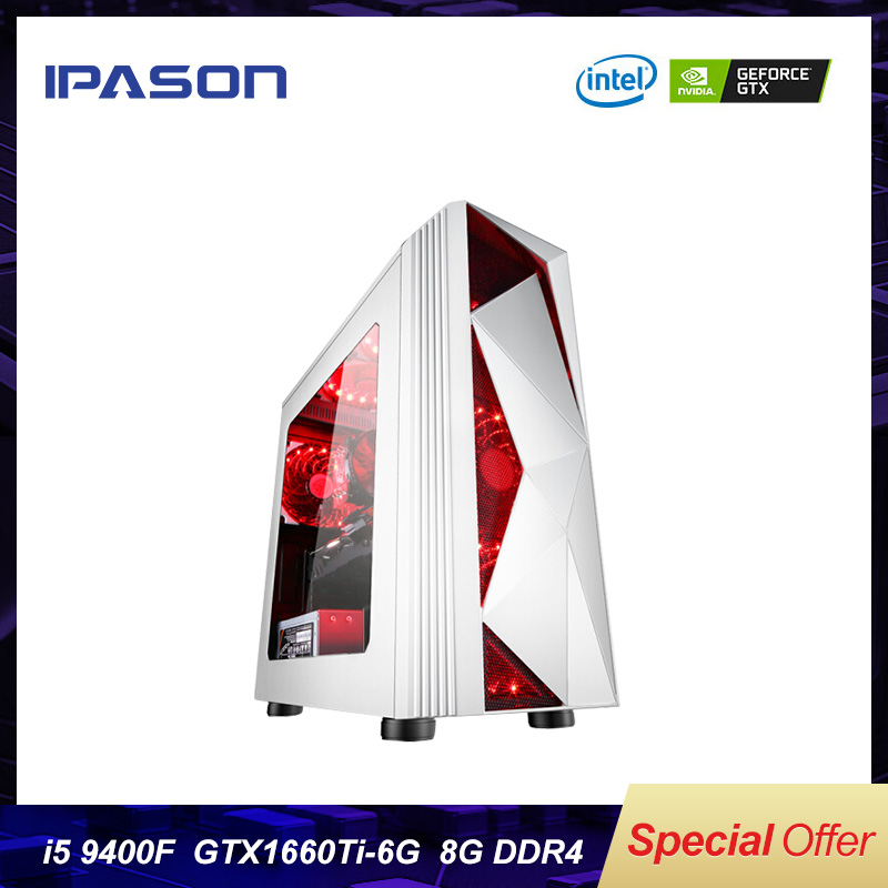Intel Gaming Desktop PC IPASON P23 6-core 9th Gen I5 9400F/Dedicated Card GTX1660TI 6G/8G DDR4 /1T+120G SSD Win 10 Barebone PC