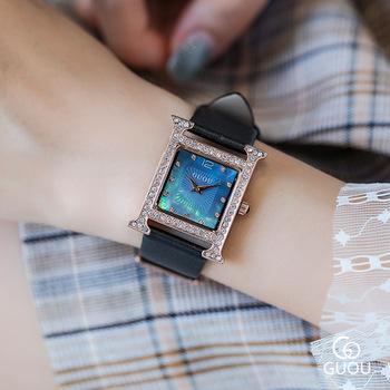 Zegarki damskie luksusowe diamentowe zegarki kwarcowe damskie proste wodoodporne skórzane kwadratowy zegarek kobiety eleganckie kobiece zegarki na rękę tanie i dobre opinie ddiezn QUARTZ Klamra STAINLESS STEEL 3Bar Moda casual 20mm Plac Odporny na wstrząsy Odporne na wodę Hardlex GU8214_4