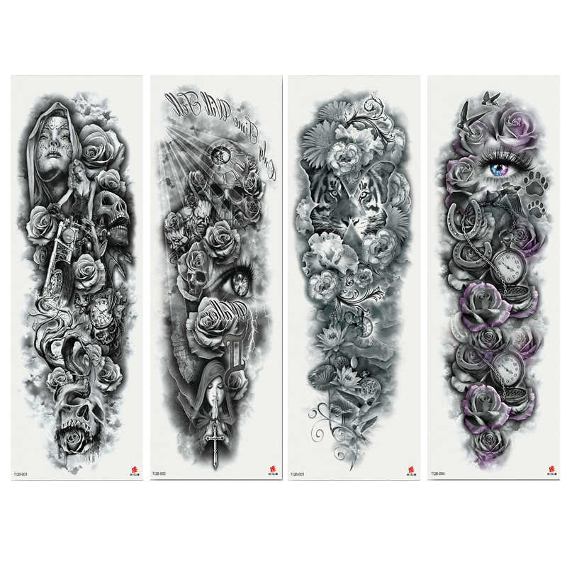 1PC Tattoo Clock Rose Skeleton Dark Temporary Tattoo Stickers For Men Women  Full Body Art Arm Tattoo 170*480CM