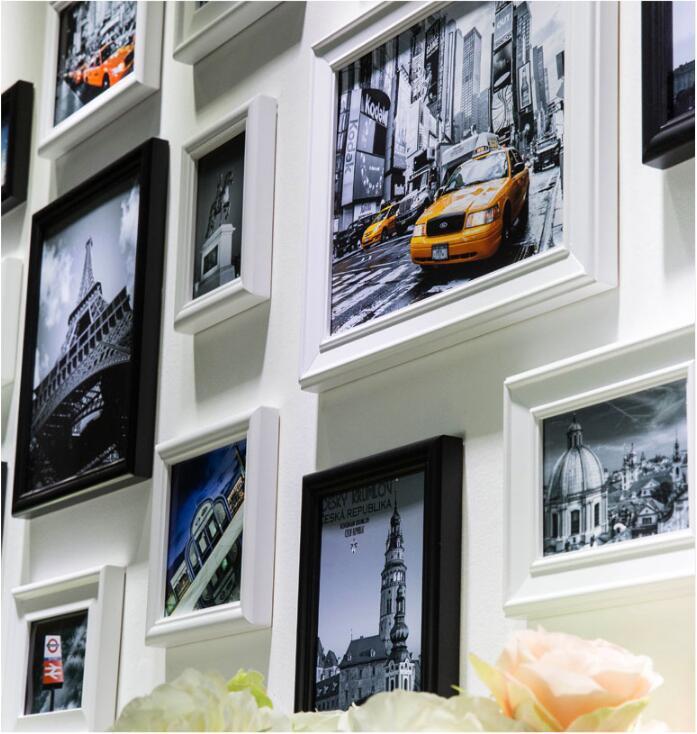 16 unids/set marco de foto para pared blanco, decoración del hogar de boda, nuevo marco negro, marcos para cuadros, cuadros fotográficos para pared modernos - 2
