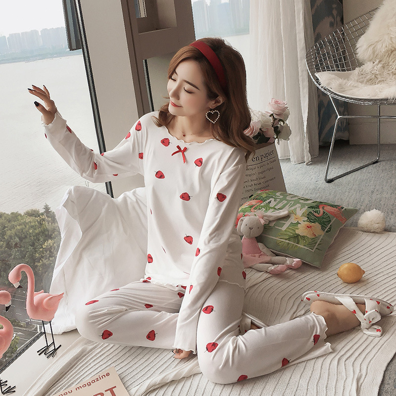 Autumn Women Cotton Pajamas Sets 2 Pcs Cartoon Printing Pijama Pyjamas Long Sleeve Bowknot Pyjama Sleepwear Sleep Set 45