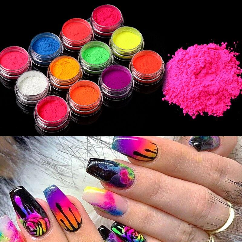 Fluorescent Sugar Nail Powder Neon Phosphor Colorful Nail Art Glitter Pigment Longest Lasting 3D Glow Luminous Dust Decorations