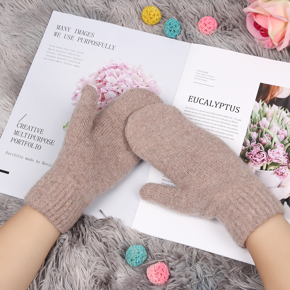 Women Girl Winter Fashion 1Pair Kitted Gloves Rabbit Fur Mittens Soft Warm Candy Color Double Layer Female Gloves Christmas Gift