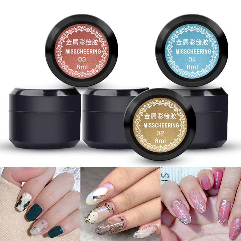 Metal Nail Gel Glue Nail Art Phototherapy Nail Polish Glue Gold And Silver Mirror Bread Edge Hook Line Drawing Glue 8ML Pack