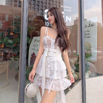 цена на Summer Lace Dress Women Spaghetti Strap Irregular See Through Mini Dress Club Gothic Sexy Dress White Patchwork Runway 2020 A789