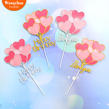 New Arrivals  Love Heart Balloon I Your Happy Birthday Cake Topper Valentines Day Wedding Decoration Party Supplies