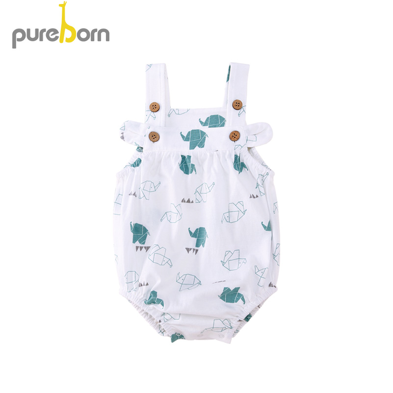 Pureborn Newborn Baby Girl Bodysuit Cartoon Print Or Ruffle Infant Girl Bodysuit Sleeveless Baby Girl Clothes Summer Costumes