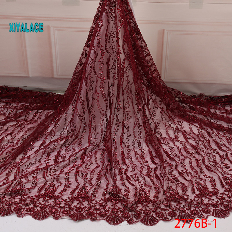African Lace Fabric With 3D Flower High Quality Handmade Beads Lace Fabric 3D Lace Fabric For Wedding Evening Dress YA2776B-1