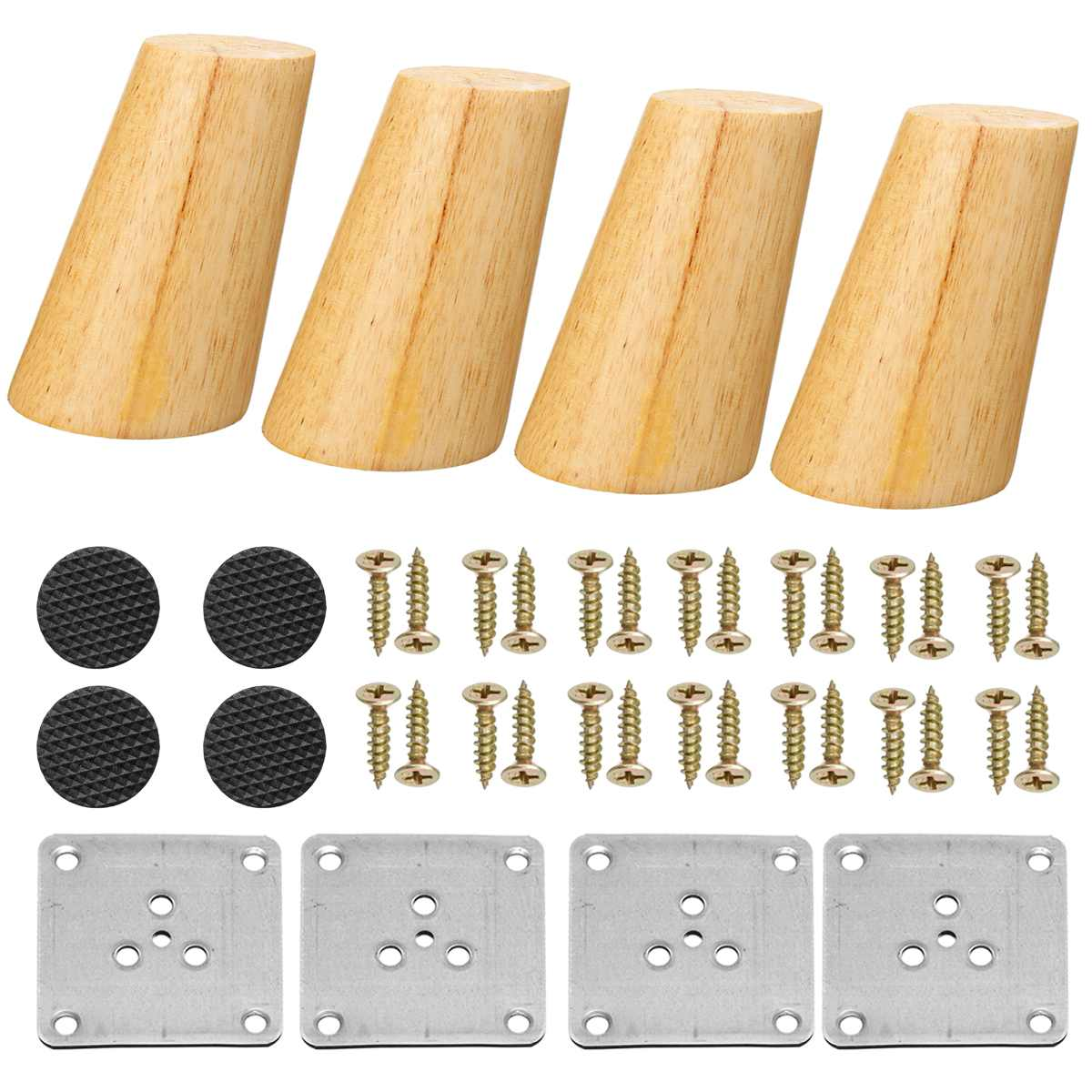 4pcs/lot Solid Wooden Oblique Angle Sofa Legs Feet Coffee Table Furniture Legs With Anti-skid Pad For Cabinets Tables 4 Size