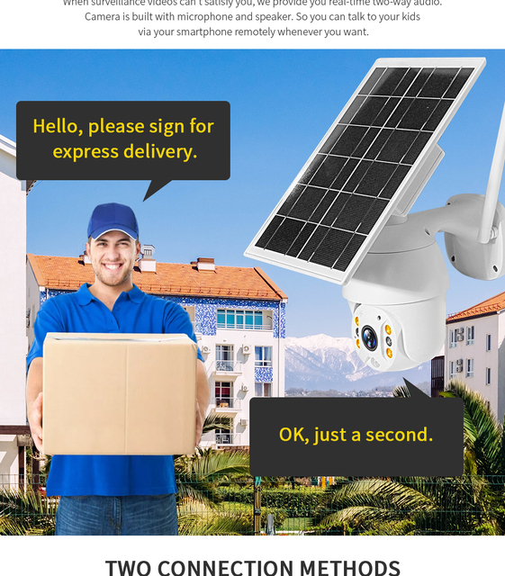 SHIWOJIA Camera 4G SIM Card 1080P HD Solar Panel Outdoor Monitoring CCTV Camera Smart Home Two-way Intrusion Alarm Long Standby 4