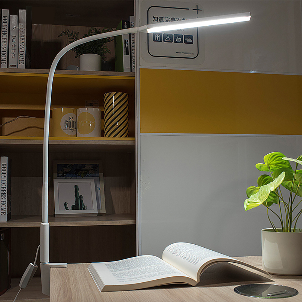 Long Arm Led Desk Lamp 10W Clip Flexible Table Lamp Adjustable Brightness&Color Eye Protection For Bedroom Reading Study Office