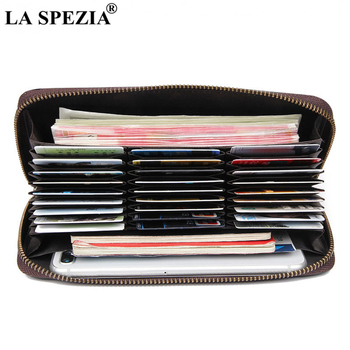 LA SPEZIA 100% Cowskin Wallets for Men RFID Card Holder Wallet Coin Purse Genuine Leather Zipper Male Quality Long Phone Wallet genuine cow leather men wallets rfid double zipper card holder high quality male wallets purse vintage coin holder men wallets