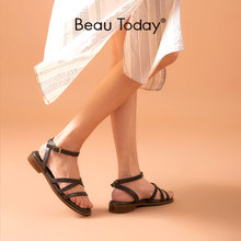 Gladiator Sandals Low-Heel-Shoes Genuine-Cow-Leather Women Strap Casual Summer Beautoday
