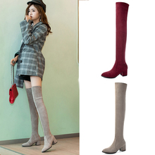 2019 Sexy Thigh High Boots Platform Winter Boots Women Shoes Stretch Over the Knee Boots High Heels Suede Red Grey Long Boots shoes women boots thigh high boots over the knee boots platform thick high heels boots ladies shoes black brown big size 42 43