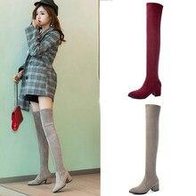 Bottes hautes à plateforme pour femme, chaussures d'hiver Sexy, extensibles au-dessus du genou, talons hauts, en daim, rouge, gris, 2021