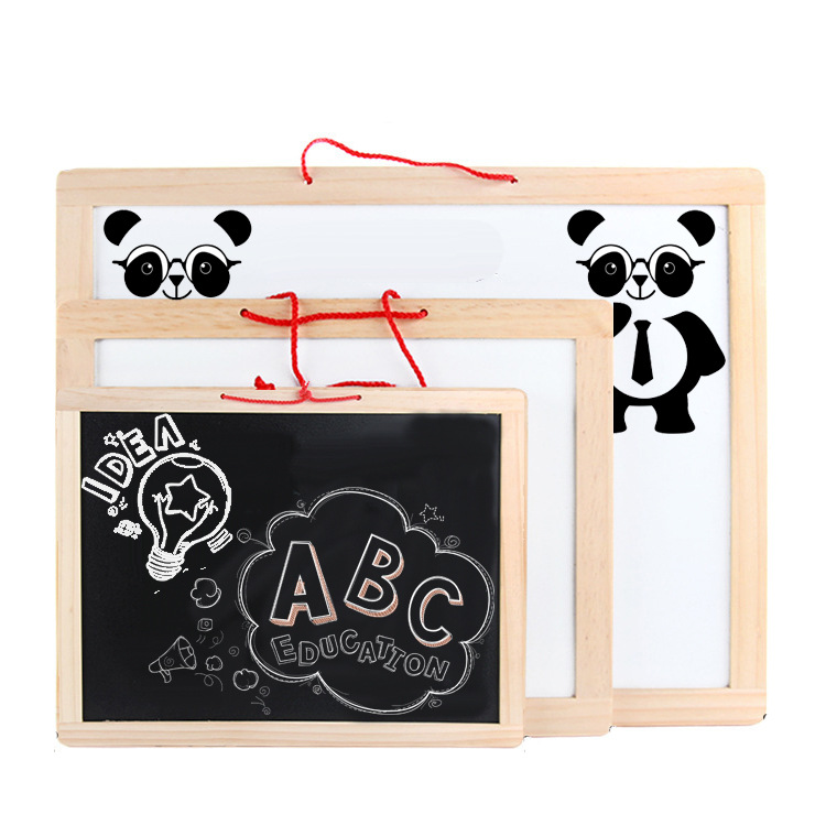 Wooden Drawing Board Magnetic Double-Sided Small Blackboard Writing Board Children Wall Mounted-Household Hanging Send Tile
