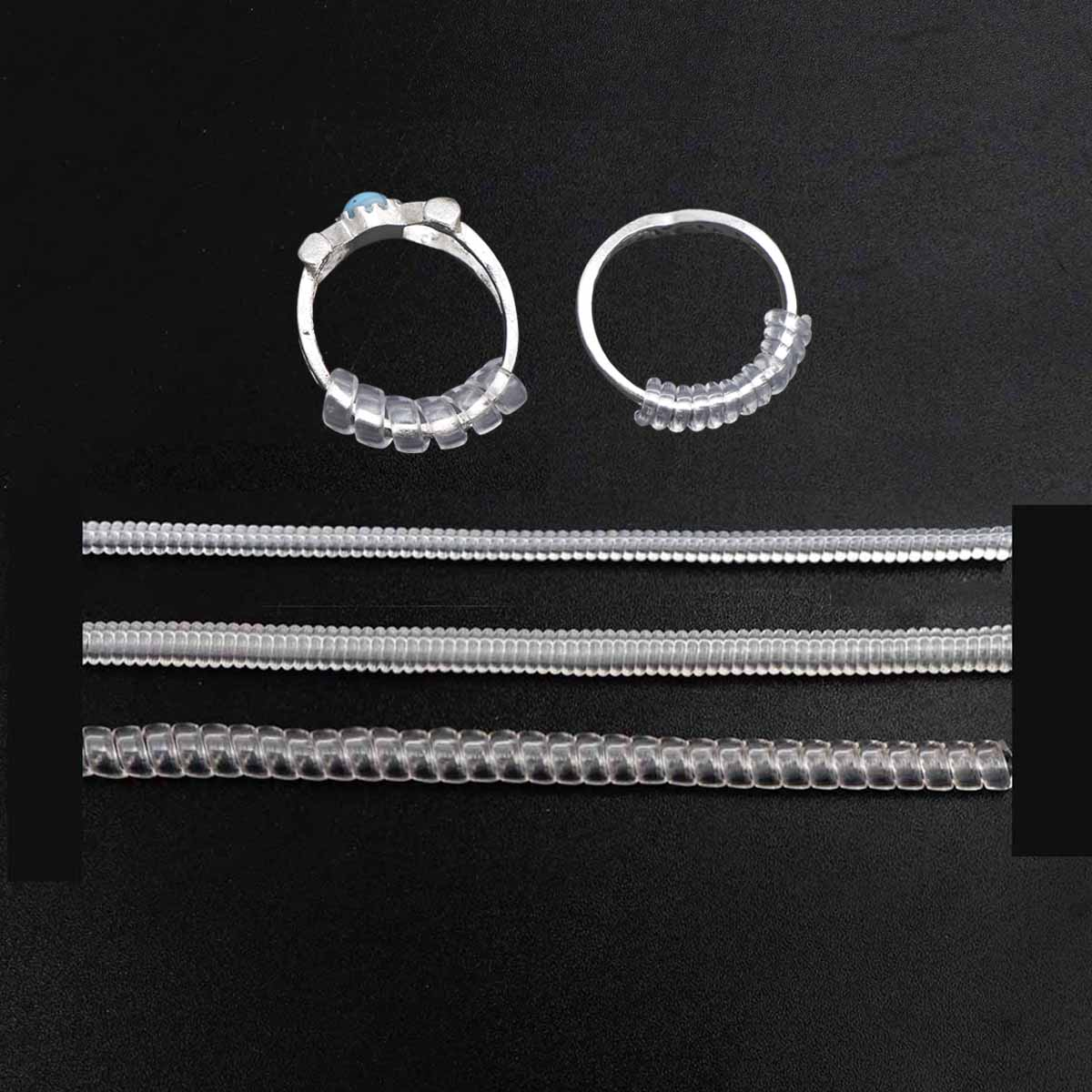 3Size 10cm Clear Ring Spiral Based Ring Size Adjuster Guard Tightener Reducer Resizing Tools Jewelry Accessories