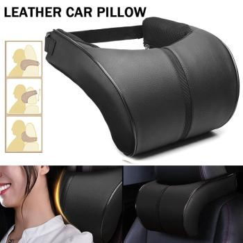 1PC Car Neck Pillow PU Leather Auto Neck Rest Headrest Cushion Pillow Car Interior Accessories Universal Adjustable Buckle Band