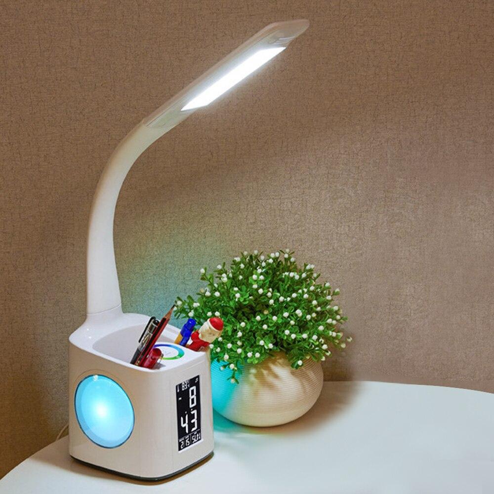 Lâmpada de mesa led com porta de carregamento usb & despertador & termômetro & calendário 3-nível dimmer lâmpada de mesa noite com caneta titular para estudo