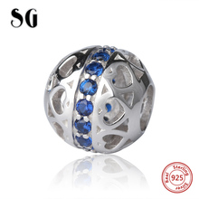 Fit Authentic pandora Bracelets 925 silver love heart hollow charms beads with blue crystal CZ stone diy Jewelry Gifts