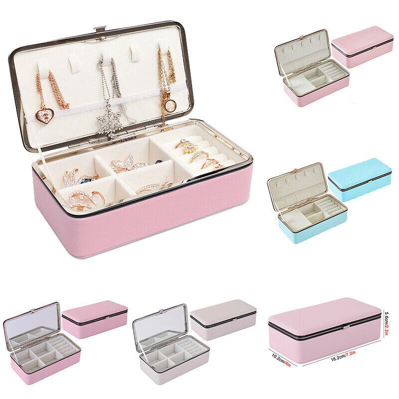 HOT Lady PU Leather Jewelry Box Storage Box Ring Display Case Portable Jewelry Organizer For Necklaces Joyeros Organizador Joyas