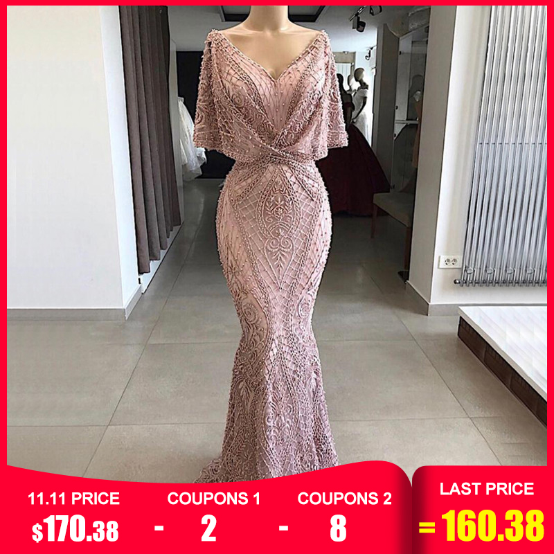 Dubai Pink V-Neck Pearls Lace Evening Gowns 2019 Half Sleeves Mermaid Sexy Elegant  Formal Evening Dresses LA70156